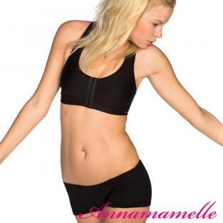 Zwarte sport BH (pure lime) met voorsluiting na borstvergroting of verkleining